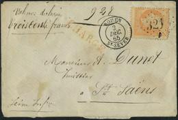 Lettre N° 23, 40c  Orange Obl Roue 2 Dec 65 Sur L Chargée Pour St-Saens, T.B. - Stamps