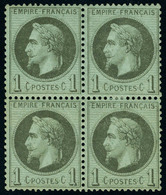 Neuf Avec Charnière N° 25, 1c Bronze, Bloc De 4, Excellent Centrage, T.B. - Stamps