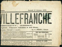 Lettre N°25. 1c Empire Lauré Seul S/journal Complet, Le Journal De Villefranche Du 15 Octobre 1870. Timbre T.B., Journal - Stamps