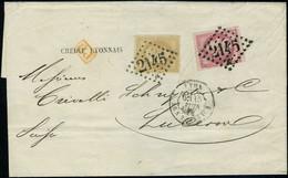 Lettre N° 28 + 49, 10c Napoléon Lauré + 80c Bordeaux Obl 2145 Pour Lucerne Suisse, Affranchissement Rare, TB Signé + Cer - Stamps