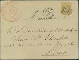 Lettre N° 28B, 10c Bistre Type II Sur L Càd Paris 23 Sept 70 Et étoile 9, Cachet Rouge Société De Secours Aux Blessés Mi - Stamps