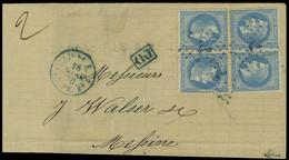 Lettre N° 29, 20c Bleu X 2 Paires Sur L Obl Ancre Bleue + Càd 18 Mars 70 PAR N° 5 Pour Messine, T.B. Signé Brun - Stamps