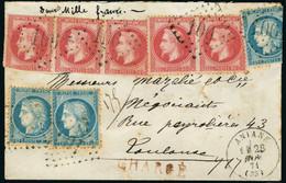 Lettre N°32 X 5ex + N°60A X 3ex S/Lettre Chargée. Los GC 106 + CàD Aniane 28 Nov 71. Pour Toulouse. Au Verso, Grille De  - Stamps
