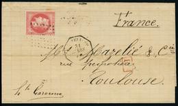 Lettre N°32. S/Lettre Oblitération Ancre + CàD Montévidéo 31 Mars 70. P D En Rouge. Pour Toulouse. Au Verso CàD Bordeaux - Stamps