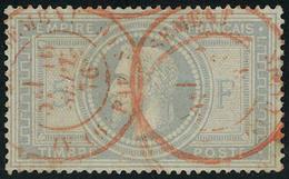 Oblitéré N° 33, 5f Violet Gris Obl Càd En Rouge, Infime Point Clair, Aspect Superbe, Signé Brun - Stamps