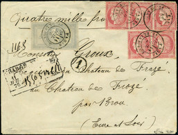 Lettre N° 33, 5f + 80c (N°57) X 5 Ex. Affranchis à 9F,s/L Chargée à 4000F Obl Paris Rue De La Bourse 11 Juil 76 Pour L'E - Stamps