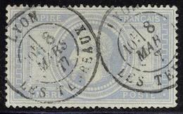 Oblitéré N° 33a, 5f Gris Bleu, Càd Lyon 8 Mars 77, T.B. Signé A Brun - Stamps