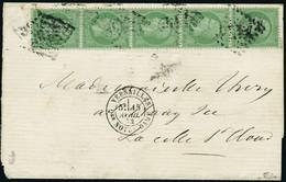 Lettre N°35. 5c Vert-pâle S/bleu. Bande Verticale De 5ex S/lettre. CàD Versailles 15 Avril 72, Pour La Celle St-Cloud. A - Stamps