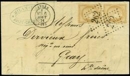 Lettre N° 36, 10c Bistre, Paire Verticale S/L Obl GC 262  Avize 6/8/71 Pour Gray, TB - Stamps
