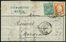 Lettre N° 38 + N° 65 Sur Imprimé, CàD Blaye 13 Nov 76 Pour Bordeaux Arrivée : 14 Nov 76. T.B. - Stamps