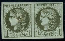 Neuf Avec Charnière N° 39A, 1c Olive Report 1, 2ème état Paire Hor T.B. - Stamps