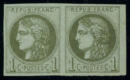 Neuf Avec Charnière N° 39C, 1c Olive Report 3, 1er état, Paire Hor. T.B. - Stamps