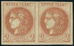 Neuf Avec Charnière N° 40B, 2c Rouge Brique, Paire Hor., Superbe, Signé Calves + Brun + Certificat. Maury 40IID - Stamps