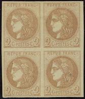 Neuf Avec Charnière N° 40B, 2c Brun Rouge, Bloc De 4 T.B. Signé Calves - Stamps