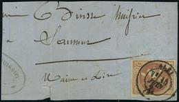 Oblitéré N° 40B, 20c Brun Rouge Report 2, Cad Albi 15 Juin 71 Sur Grand Fragment Pour Saumur, T.B. - Stamps