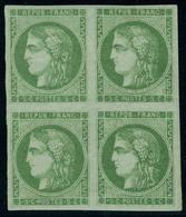 Neuf Sans Charnière N° 42B, 5c Vert Jaune, Report 2, Bloc De 4, Superbe, Certificat Roumet (2ex Cl) - Stamps