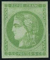 Neuf Avec Charnière N° 42B, 5c Vert Jaune Report B T.B. Signé Dillemann - Stamps