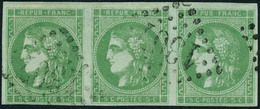 Oblitéré N°42B. 5c Vert. Bande Horizontale De 3. T.B. Signé Calves - Stamps