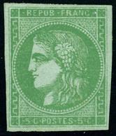 Gomme Non Originale N° 42B, 5c Vert Jaune, Report 2, Jolie Nuance, T.B. - Stamps