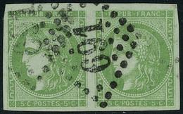Oblitéré N° 42Ba, 5c Vert Jaune Foncé Report 2, Paire Hor. LOS GC 691, T.B. Signé Jamet Et Serrane, Maury - Stamps
