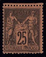 Neuf Sans Charnière N° 91, 25c Sage Noir Sur Rouge, Très Frais, T.B. Signé Calves - Stamps
