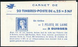Neuf Sans Charnière N° 1263-C3, 0,25f Marianne De Decaris, Carnet De 20 T., S.17-62, N° Et C.D. (6.10.62) En Haut, TB - Timbres