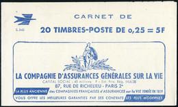 Neuf Sans Charnière N° 1263-C3, 0,25f Marianne De Decaris, Carnet De 20 T., S.3-63, N° Et C.D. (15.2.63) En Haut, TB - Timbres