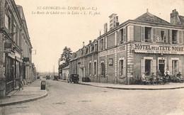 49 St Saint Georges Sur Loire La Route De Cholet Vers La Loire Hotel De La Tete Noire Cpa Carte Animée - Saint Georges Sur Loire