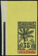 Neuf Sans Charnière N° 29, 35c Palmiers Non Dentelé Double Légende Cote D'Ivoire, T.B. - Stamps