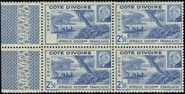 Neuf Sans Charnière N° 170a, 2f50 Pétain, Bloc De 4 Dont Un Ex. Sans Valeur Par Pliage, La Valeur Est Au Verso Du Bdf, T - Stamps