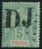 Oblitéré N° 1A, 5c Vert Sans Barre Sur Obock, T.B. Certificat PFC. - Stamps