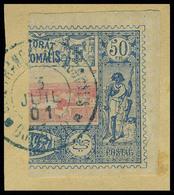 Fragment N° 13a + 15a, 30c Et 50c Coupé Verticalement, Obl Sur Fragment T.B. - Stamps