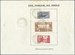 Oblitéré N° 98 + N° 167 + N° 170, Les 3 Valeurs Sur Feuillet Avec Mention  Oblitérés Pendant Le Blocus, Càd Djibouti 28  - Stamps
