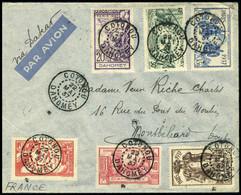 Lettre N° 103/08, La Série Expo De Paris S/L Càd Cotonou 22 Mai 37 Pour Montbéliard Càd De Transit De Dakar, Cachet Serv - Stamps