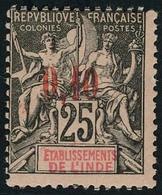 Neuf Avec Charnière N° 21, 0.10 Sur 25c Noir Sur Rose, T.B. - Stamps