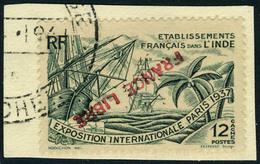Fragment N° 152a, 12ca Vert Expo 1937, Surcharge Renversée, Obl S/fragment, TB, Signé Brun - Stamps