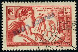 Oblitéré N° 154. 1fa 12ca, Surcharge France Libre Renversée, T.B. Signé Calves, Maury N° 154a. - Stamps