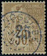 Oblitéré N° 5, 25 Sur 30c Surcharge Bleu Pale T.B. Signé Calves - Stamps