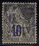 Oblitéré N° 8, 5c Sur 10c Noir Sur Lilas, 1 Dent Courte, T.B. Signé Calves - Stamps