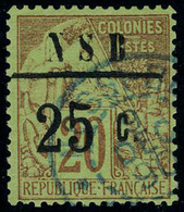 Oblitéré N° 10, 25c Sur 20c Brique Sur Vert, Surcharge I, TB Signé JF Brun - Stamps
