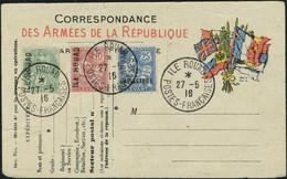 Lettre N° 1/3, Les 3 Valeurs Sur Entier Postal Correspondance Des Armées De La République, Obl 27.5.16, Signé Brun TB - Stamps