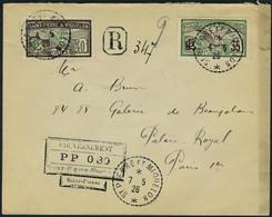 Lettre LR Affranchie Cachet PP 030 + TP N° 86 Et 87, Càd St Pierre Et Miquelon 7.5.26 Pour Paris, T.B. Maury - Timbres