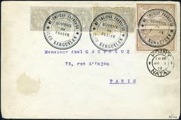 Lettre 1c Type Blanc X 5 + 50c Merson X 2 S/L Obl Iles Kerguelen De France + Cachet De Transit POINT NATAL MR I 1912 Pou - Timbres