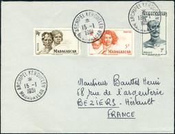 Lettre 3 Valeurs Madagascar S/L Obl Archipel Kerguelen 15.1.51 Pour Béziers, Au Verso St Paul Et Amsterdam 26.1.51, TB - Timbres