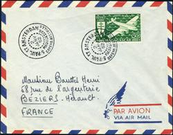 Lettre 50f PA Madagascar Obl S/L St Paul Et Amsterdam Du 2 Jan 52 Pour Béziers, TB - Stamps