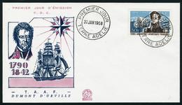 Lettre N° 25, 30f Dumont D'Urville, Càd 1er Jour Terre D'Adélie 20 Janv 1968, Sur Enveloppe Illustrée. T.B. - Stamps