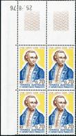 Neuf Sans Charnière N°63. Le Bloc De 4. Coin Daté (25.8.76). T.B. - Stamps