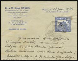 Timbre Saïgon Cholon Taxes Régionales, Bleu à 170f Sur Document, Autorisation Parentale Pour Le Voyage De Deux Jeunes Ge - Stamps