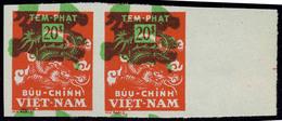 Neuf Sans Charnière N° 11, 20p Rouge Avec Couleur Verte Fortement Déplacée Vers Le Haut, ND, Paire Hor. Bdf, T.B. - Stamps