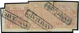 Fragment N° 2, 4 Et 6, 1gr + 5gr + 20gr, Obl. Sur Frgt, Signé Diéna Et Kosack, Sassone 4 + 8 + 13 - Stamps